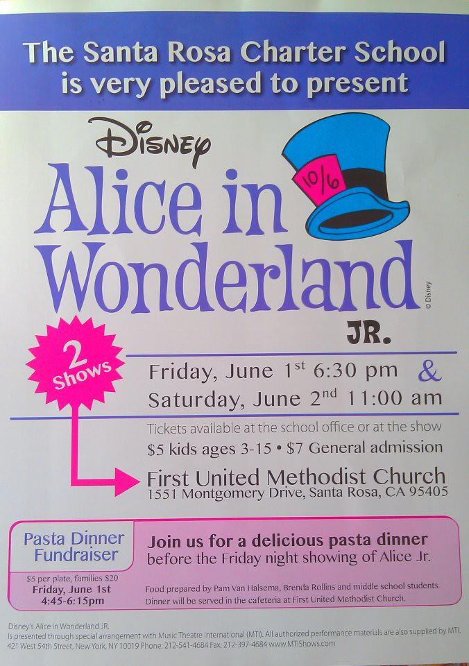 Alice in Wonderland, Jr  Play Poster | Santa Rosa Charter Sc