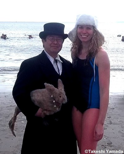 Seara (sea rabbit), Dr. Takeshi Yamada and mermaid (Coney Island Polar Bear Club member) at Coney Island Beach in Coney Island, Brooklyn, New York on January 8, 2012.  20120108 034 | by searapart12