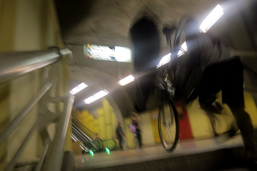 Bike and Surfboard on the Metro | by Mikael Colville-Andersen