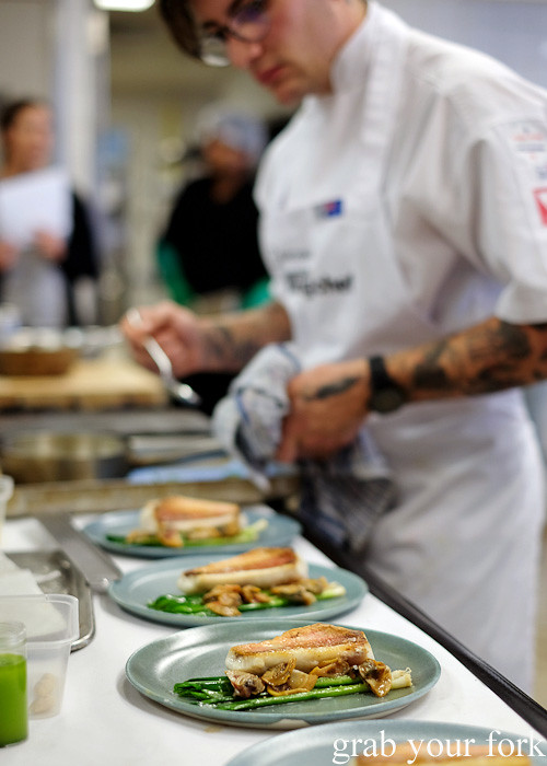 Zackary Furst from Ides in Collingwood, Melbourne plating up at the Appetite for Excellence Young Chef of the Year 2016 final cook off
