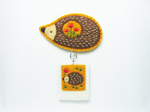 Hedgehog stories in tiny polaroid photos felt brooch - portable instant memories | by hanaletters