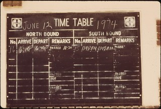 Timetable at Pauls Valley, Oklahoma, on the route of the Lone Star between Chicago and Houston, Texas, June 1974 | by The U.S. National Archives