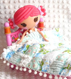 Mini Lalaoopsy Doll Vintage Chenille & Sheet, Japenese Fabric Patchwork Min Quilt & Pillow with Pom-Poms | by Nesha's Vintage Niche