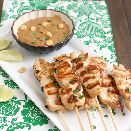 Chicken Saté with Peanut Dipping Sauce | by Tracey's Culinary Adventures