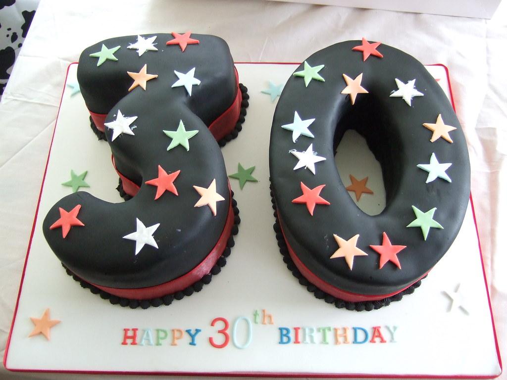 30 Number Black covered Birthday cake Black iced numbered Flickr