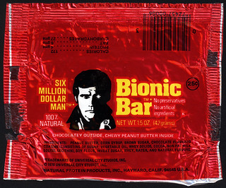 Natural Protein Products Inc - Universal City Studios - Six Million Dollar Man Bionic Bar - 25-cent foil wrapper - 1976 | by JasonLiebig