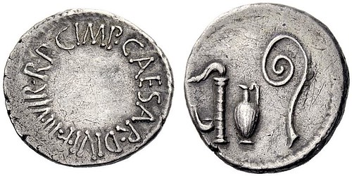 RR141 An Excessively Rare and Exceptional Roman Imperatorial Silver Denarius Struck by a Mint Moving with Octavian, of Highly Unusual Style | by Ancient Art & Numismatics