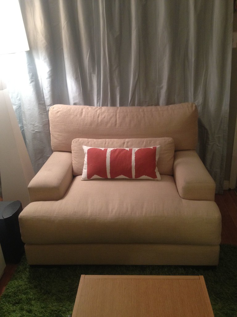 ... $250  Z Gallerie Mammoth Down Filled Oversized Sofa Chair In Buttery  Yellow Upholstery ($1000
