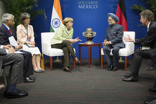 Prime Minster in a bilateral meeting with German Chancellor Ms. Angela Merkel in Los Cabos (19 June 2012) | by MEAphotogallery