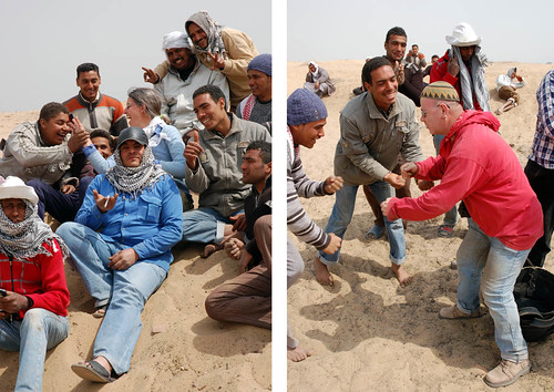 Left: Jo Rowland and her team; Right: Tass performs the 'shiq shaq shoq' for his colleagues! | by The Egypt Exploration Society