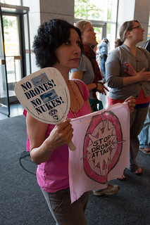 No drone attacks Nancy Mancias of Code Pink at Catholic Workes Obama HQ NATO protest-0187 | by Steve Rhodes