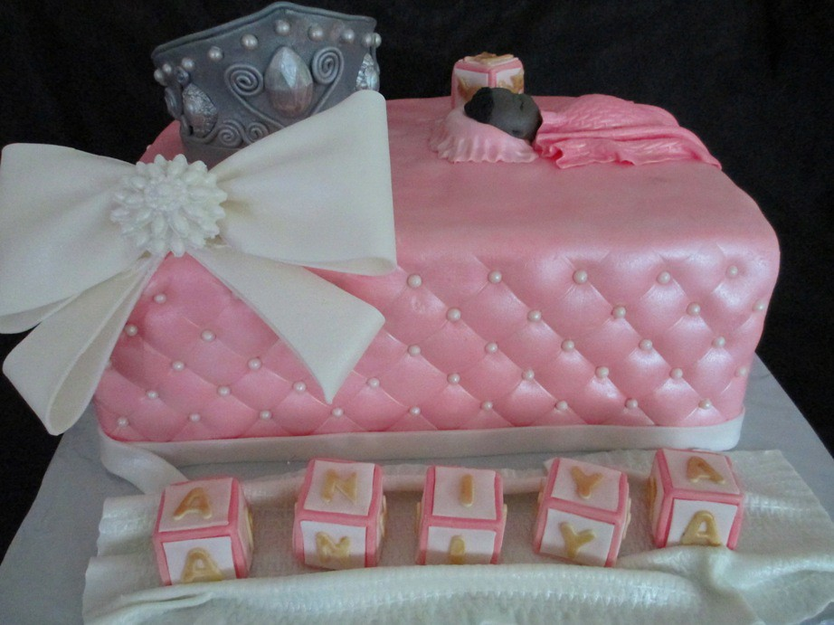 ... Baby Shower Princess Theme Fondant Cake With Crown, Quilted Sides, Baby  Blocks, |