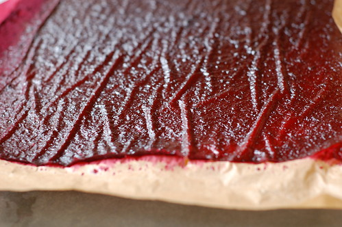 Cherry fruit leather out of the oven by Eve Fox, Garden of Eating blog, copyright 2012 | by Eve Fox