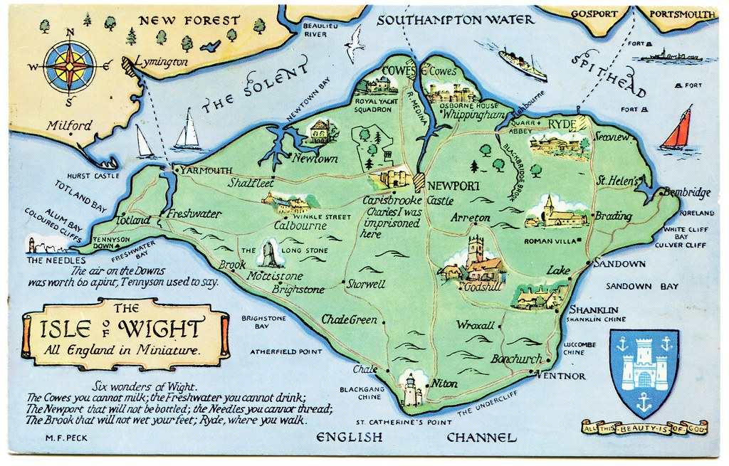 Isle Of Wight Map Postcard map of the Isle of Wight | Drawn by M F Peck. J Sal… | Flickr Isle Of Wight Map