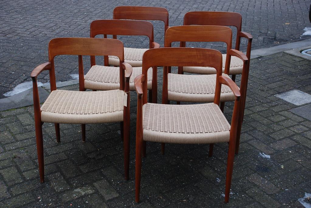Eetkamerstoelen 6 X.01 P2 Deens Design Set Of Teak Dining Chairs 6 X Armchai