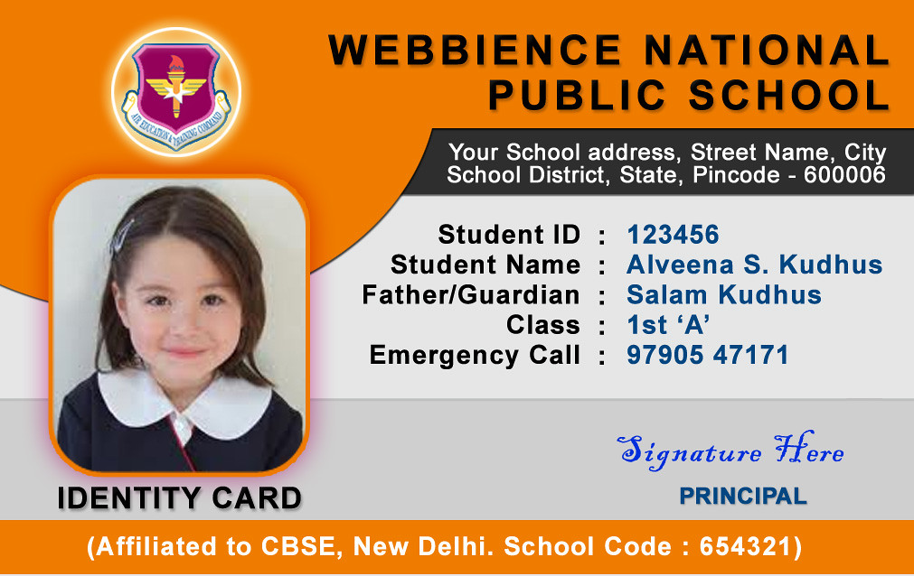 school emergency card template