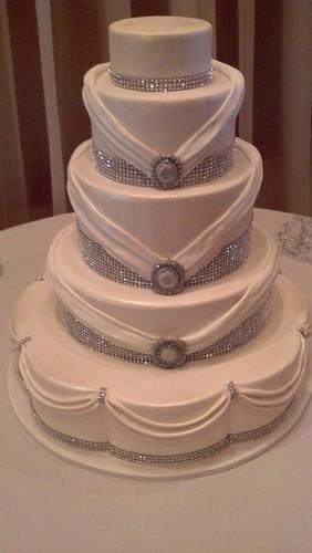 Rhinestone Wedding Cake 1187 Five Tier Cake White Cake