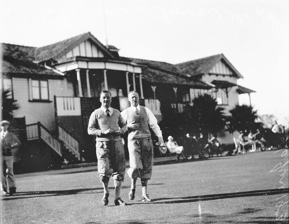 1b3d233ec70a ... Sir Leslie Orme Wilson and Dr. Wallis Hoare at the Royal Queensland Golf  Club