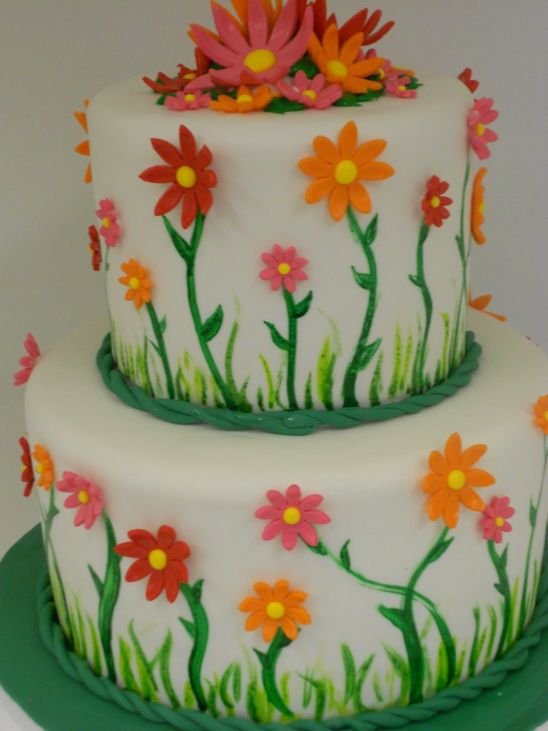 Spring Birthday Cake 1060 Two Tier Cake White Cake With Flickr