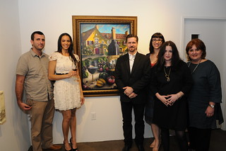 Jordan Winery 4 on 4 Dallas Art Competition judges with 4 on 4 Dallas first runner-up. | by 4on4Art