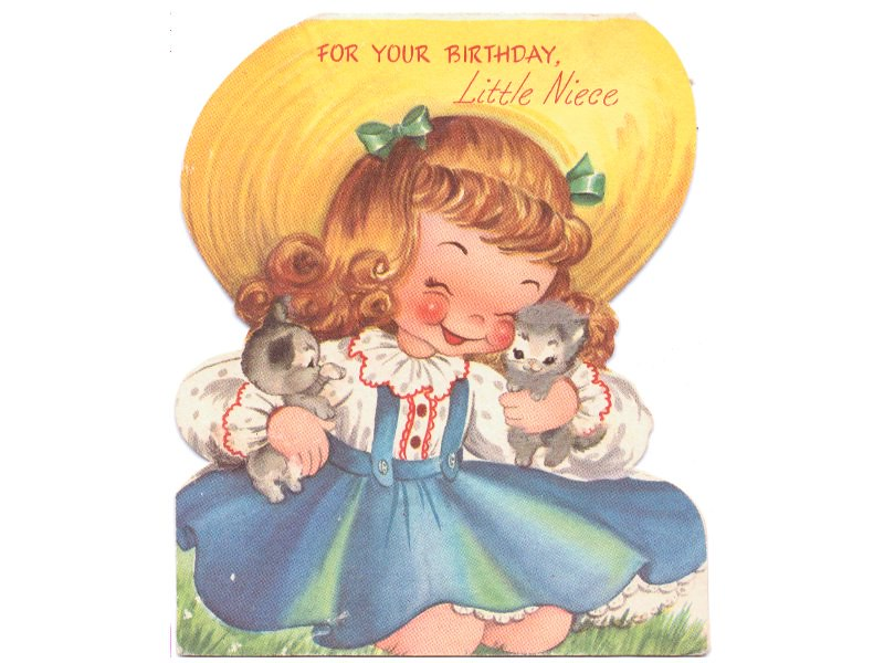 Birthday card vintage 1950s childs greeting niece girl big flickr sandycreekcollect birthday card vintage 1950s childs greeting niece girl big hat kittens by sandycreekcollect m4hsunfo