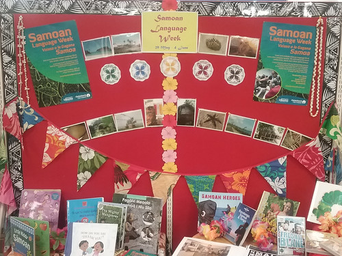 Samoan Language Week display at Shirley Library