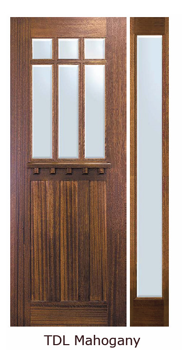 ... Craftsman TDL Dentil Shelf 6 Lite Mahogany Entry Door Tall 96 Low E  AD8342DC