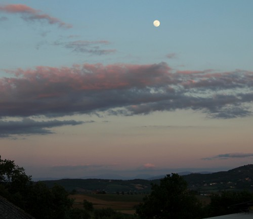 Lovely Sunset with Large Moon | by Vecchia Casa Umbria