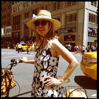 woman with floral dress on bike. midtown. | by bondidwhat