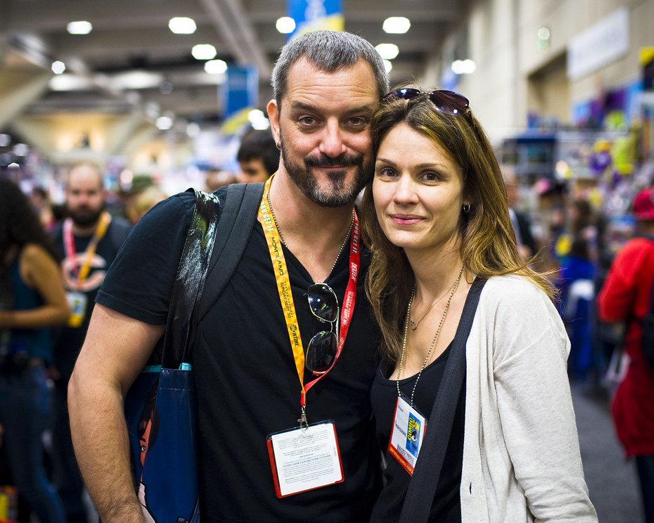 Chris Metzen avec désirable, femme Kat Hunter