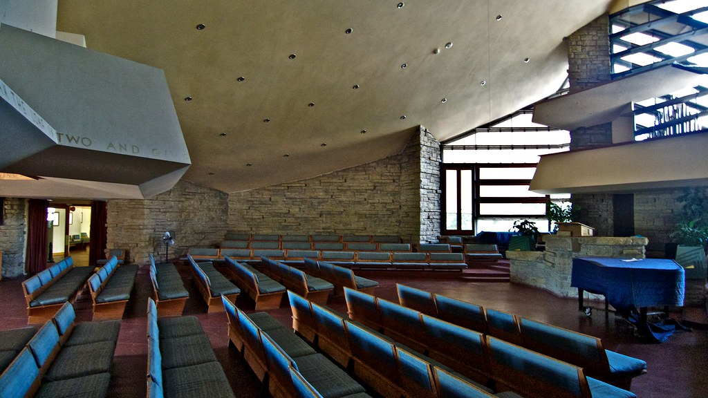 ... Unitarian Meeting House, Madison, Wisconsin, Frank Lloyd Wright,  Architect, (#