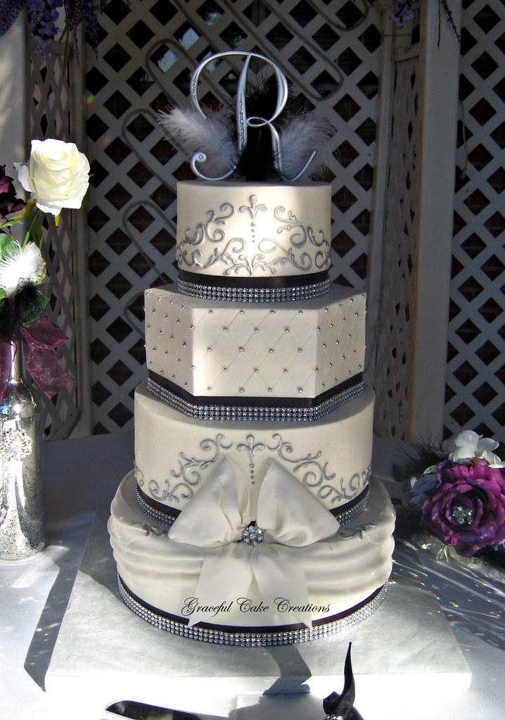 Elegant Black , White and Silver Buttercream Wedding Cake … | Flickr