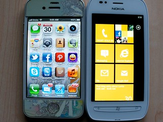 iPhone 4S and Nokia Lumia 710 Home Screens | by luis buenaventura