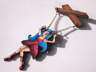 Hungry Designs Blue Haired Marionette Two Part Brooch | by Hungry Designs