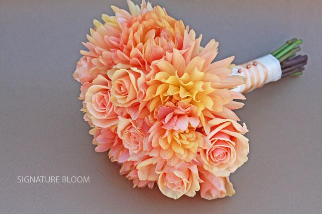 Sunnyvale Special Event Flowers Peach Wedding Bouquet