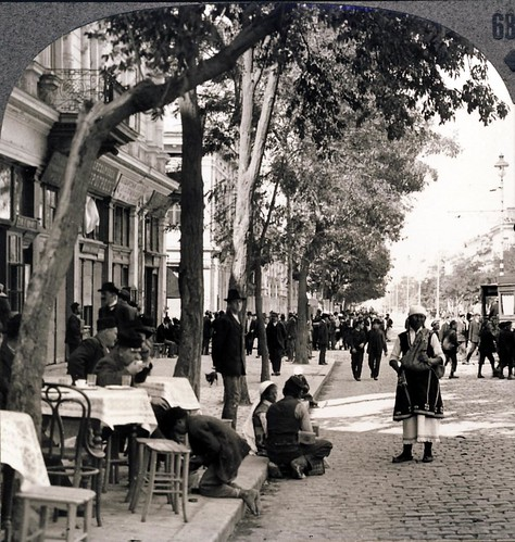 Street scene showing peasant woman and sidewalk Coffee House, Sofia, Bulgaria early 1900s | by Aussie~mobs