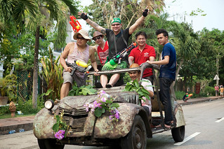 laos-luang-prabang-laos-new-year-phi-mai-lao-men-riding-in-old-decorated-car-with-waterguns-tiger trail-cyril-eberle-CEB-.jpg | by Tiger Trail Laos