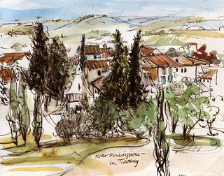 Tuscany sketchbook: near Monteriggioni | by Laura Frankstone