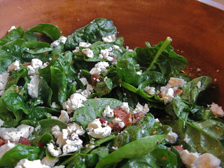 spinach salad with warm bacon vinaigrette and blue cheese | by A Sage Amalgam (Heather Sage)