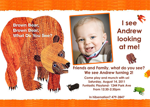 Brown bear eric carle custom birthday invitation artf flickr brown bear eric carle custom birthday invitation by designdreametsy filmwisefo