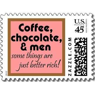 ... Funny Women Quotes Postage Stamp Joke Humor Stamps By Wise_Crack Coffee  Chocolate And Men Pink And