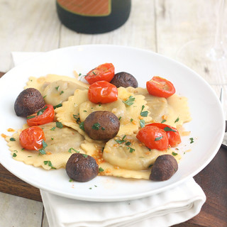 Chicken Marsala Ravioli with Roasted Tomatoes and Mushrooms | by Tracey's Culinary Adventures