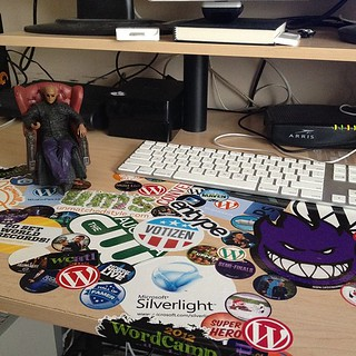 I started covering the surface of my desk with stickers a few months ago... | by @cdharrison
