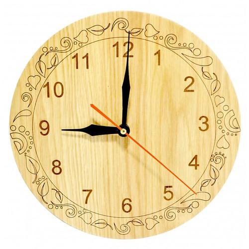 Đồng hồ gỗ hình tròn - hoa văn số 3
