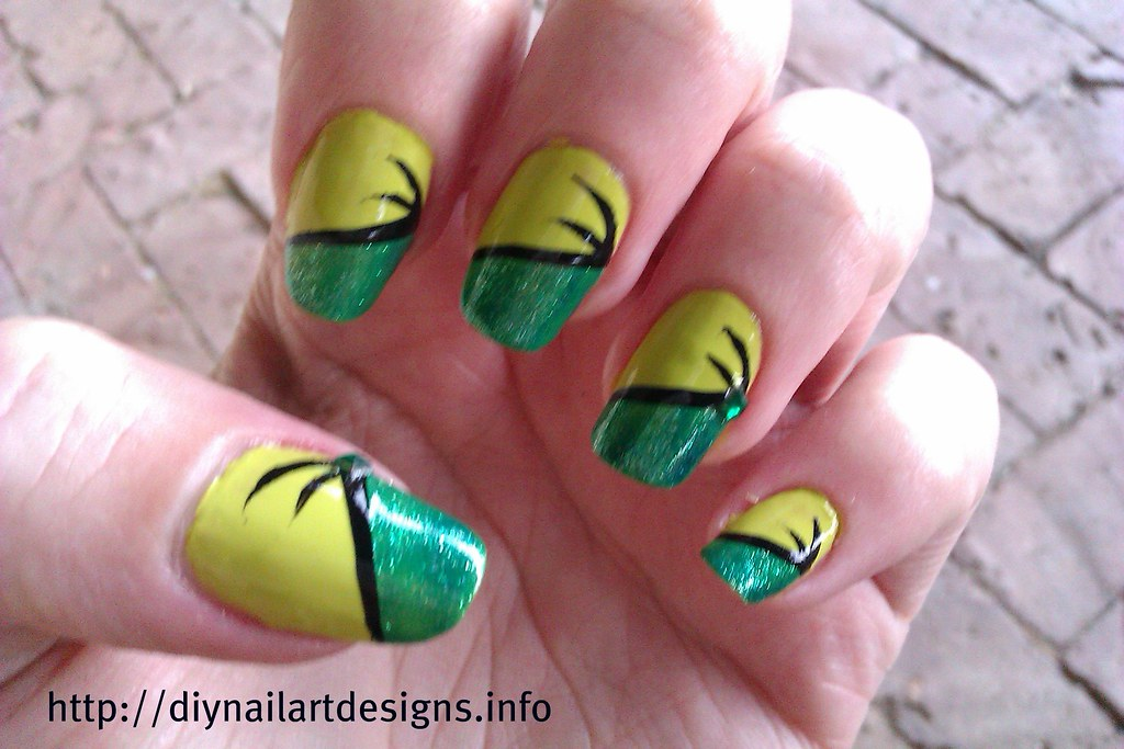 DIY Nail Art Designs: Easy Two-Tone Green Nail Design with… | Flickr