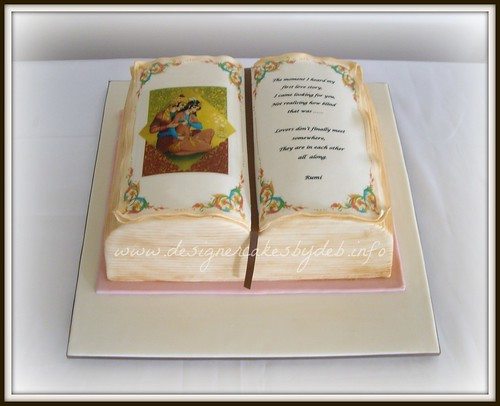 Free Cake Design Books : Open Book Wedding Cake 11 inch by 8 inch Rum & Raisin ...