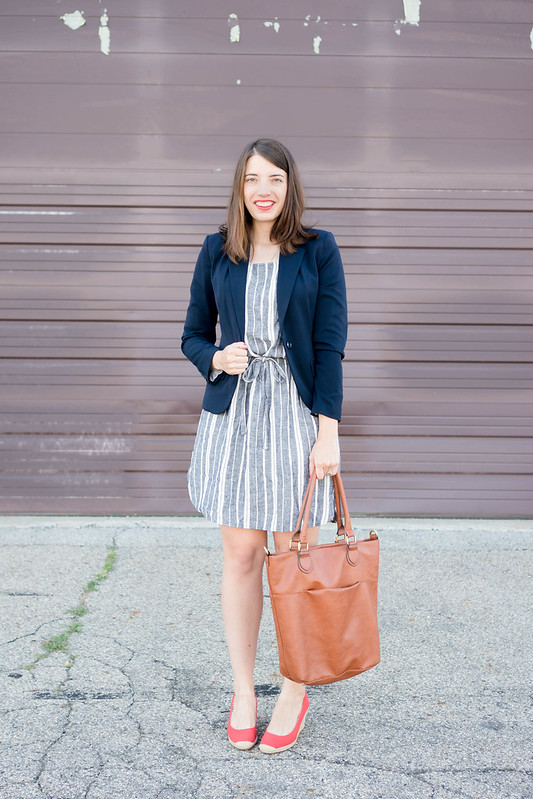 Old Navy stripe dress + navy blazer + red wedges + cognac brown tote purse | Style On Target