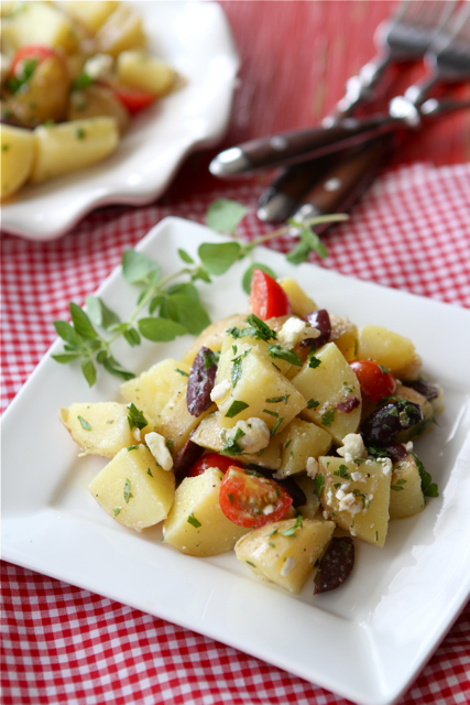 Greek Potato Salad Recipe with Feta Cheese, Kalamata Olives & Oregano Dressing