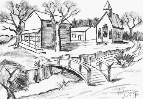 Aupoman scenery drawing house river bridge by www art