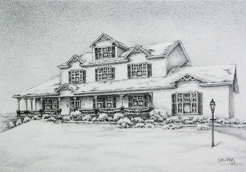 Christmas inn, commission, graphite | by Art by Cheryl